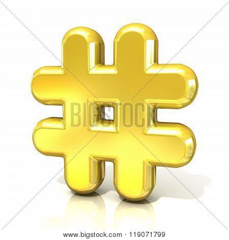 Hashtag number mark 3D golden sign
