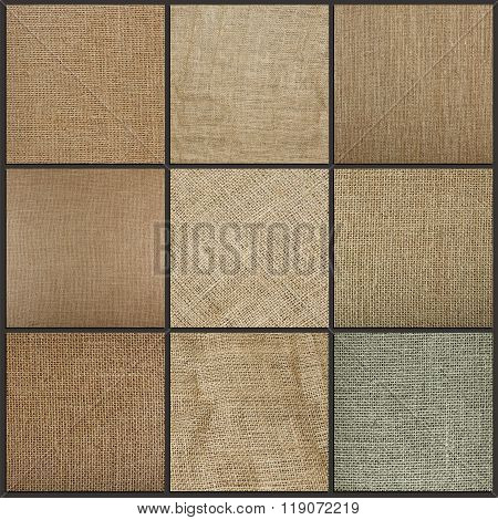 Collection Of Burlap Texture Background, Close Up.