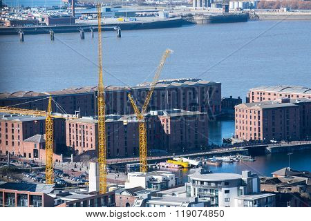 Cranes Tower over the city of Liverpool