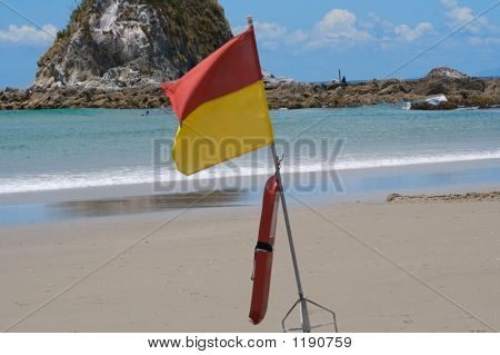 Lifesaving Flag And Rocks