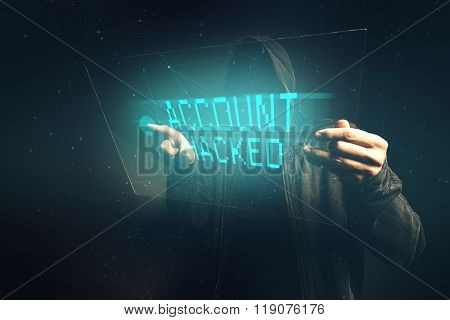 E-bank account hacked unrecognizable computer hacker stealing personal data internet cyber crime concept. poster