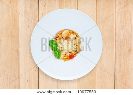 Traditional Italian Pasta With Cured Tomato