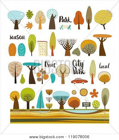 The vector illustration of flat park elements - various trees, building, car, garbage can and soil cut layers accompanied with hand written words Park, season, trees, City Park, local.
