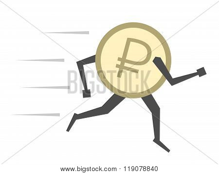 Russian Ruble Running Isolated