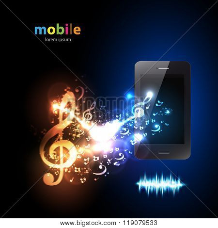 Smartphone with music note light design easy editable
