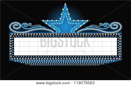 Vector theater sign banner with place for text isolated on black