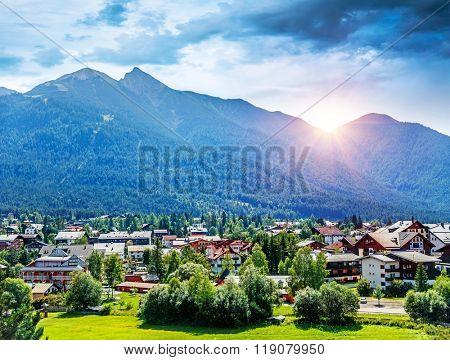 Beautiful view on little mountainous village, Seefeld in Tirol is an old farming village, major tourist resort in Innsbruck-Land District in Austria, Europe