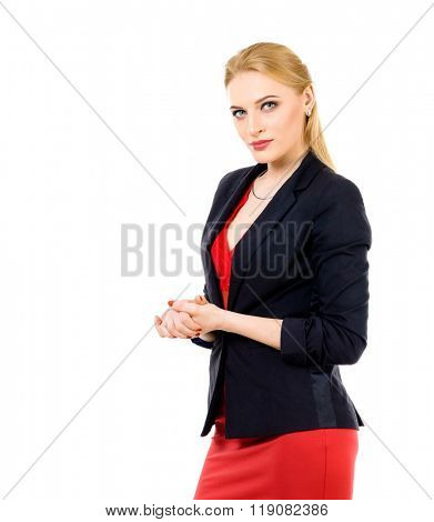 Portrait of business woman. Photo isolated on white background. Woman in red shirt and black suit.