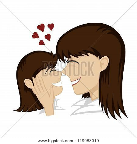 A cute brunette girl and brunette mother's faces (mother caresses). poster