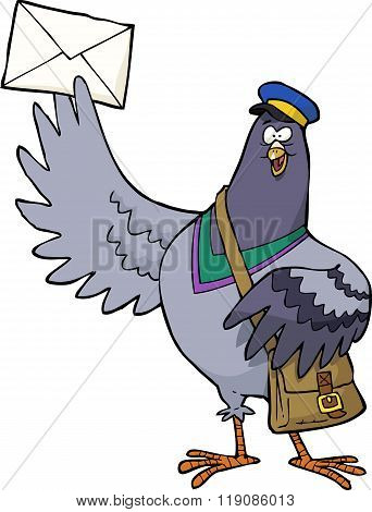 Cartoon Post Pigeon