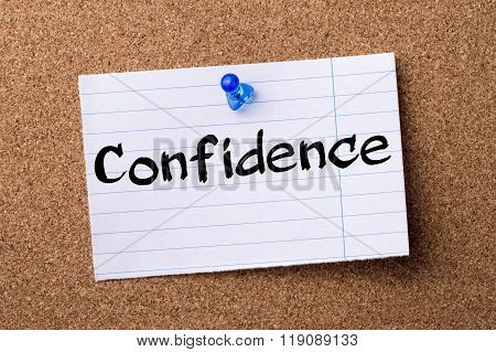 Confidence  - Teared Note Paper Pinned On Bulletin Board