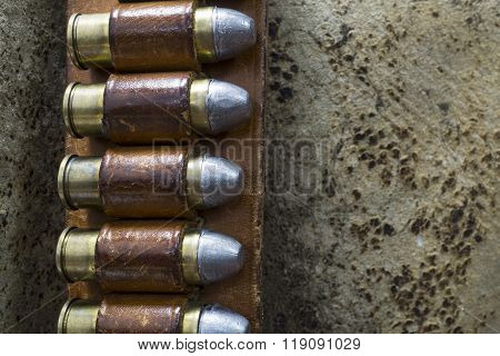 Old West Leather Bandolier with Colt 45 Bullets