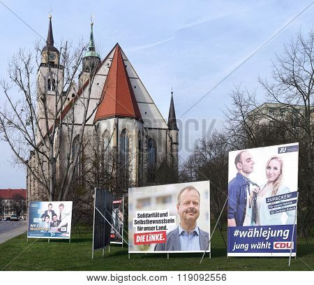 campaign placards in Magdeburg