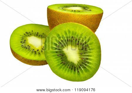 Kiwi parts as group shot. Isolated with path on white background.