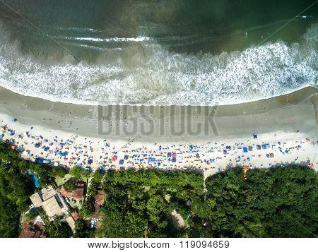 Top View of Ubatuba Beach, Sao Paulo, Brazil