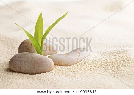 zen basalt stones and bamboo on the sand