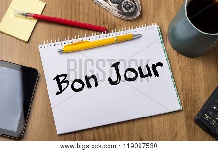 Bon Jour - Note Pad With Text