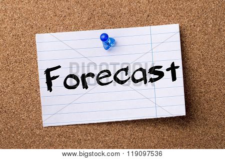 Forecast - Teared Note Paper Pinned On Bulletin Board