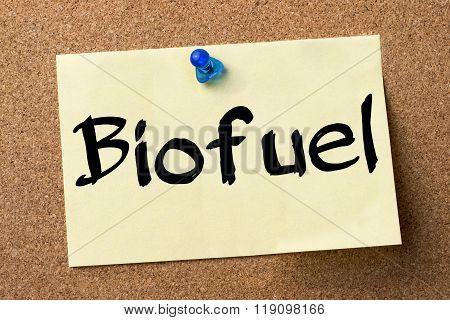 Biofuel - Adhesive Label Pinned On Bulletin Board