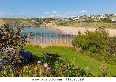 Coast path view to Mawgan Porth north Cornwall England near Newquay