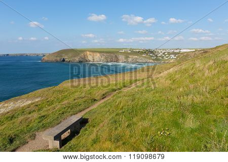 South west coast path Mawgan Porth north Cornwall England near Newquay
