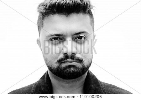 Close-up Studio Portrait Man Unsatisfied Face Expression On White
