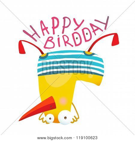Kids Duck Playing Birthday Greeting Card Design