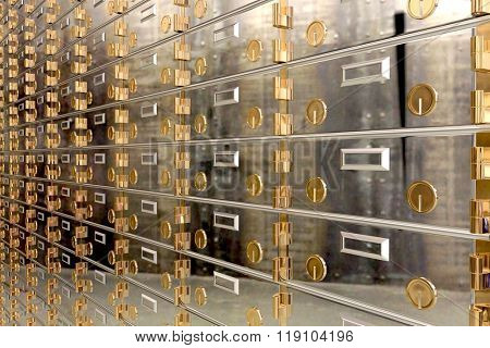 Safe deposit boxes in a bank vault