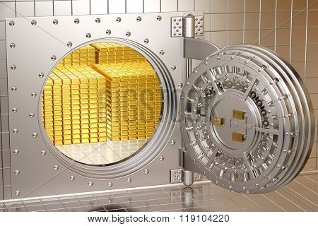 Bank vault with gold bars.