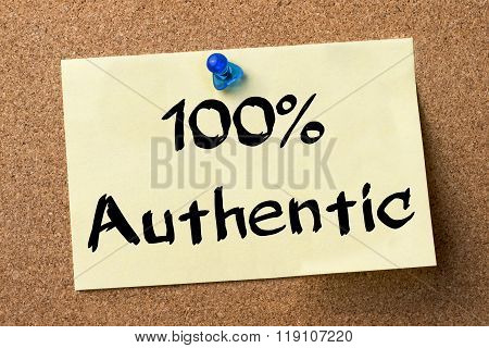 100% Authentic - Adhesive Label Pinned On Bulletin Board