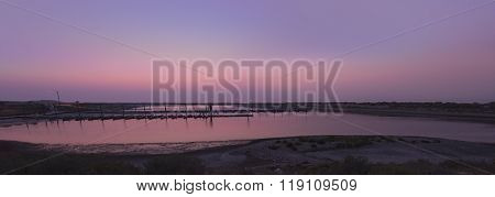 Panorama of pier in twilight at Antelope Island on Great Salt Lake, Utah