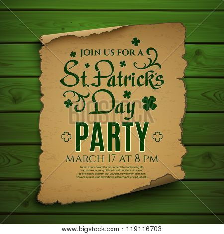 St. Patricks Day party Invitation poster.