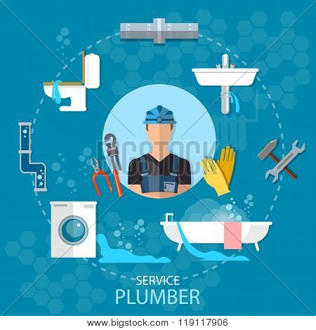 Professional Plumber Plumbing Repair Service Different Tools And Accessories