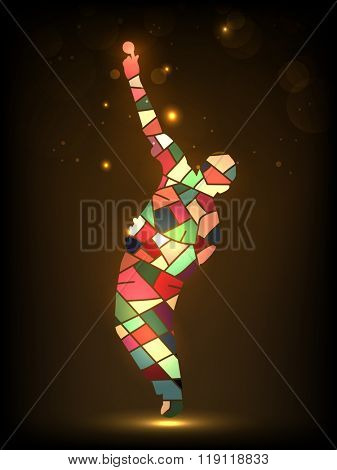 Creative illustration of a Cricket Bowler, made by colorful abstract design on shiny brown background.