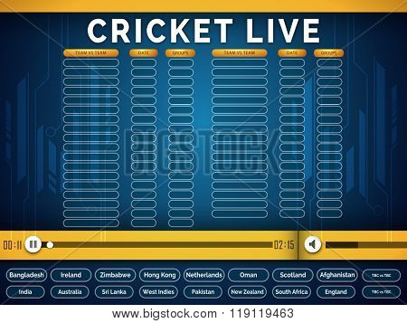 Creative Live Cricket schedule telecast video player window with participant countries names on blue background.