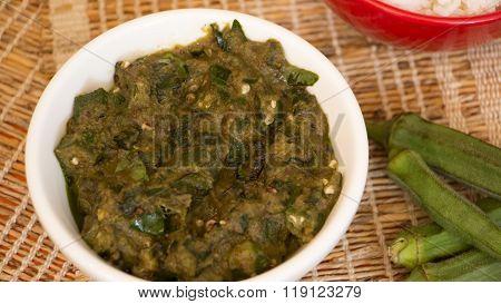 Bendekai Gojju Or Lady Finger Curry From Karnataka, India