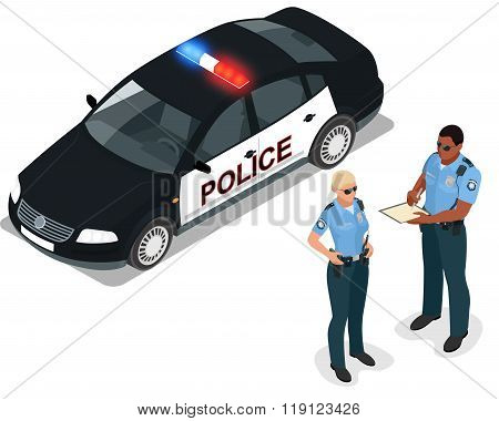 Flat 3d isometric illustration police car and policeman. Isolated isometric police car and policeman