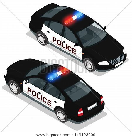Flat 3d isometric high quality city service transport icon set. Police car. Build your own world web