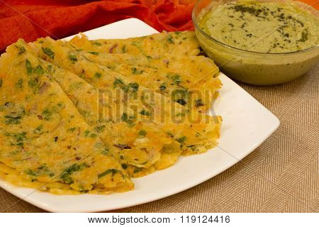 Akki Rotti Or Rice Flour Flat Bread From Karnataka, India.