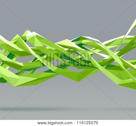Vector abstract polygonal background. Futuristic overlapping, and twisting green shapes. Useful  background for templates, banners, posters, flyers, covers, brochures, presentations,and many others.