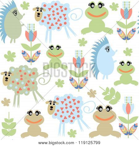 Cute Adorable Animals  Seamless Pattern And Seamless Pattern In Swatch Menu, Vector Illustration