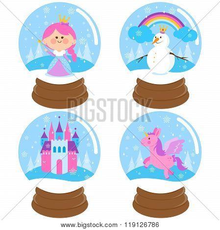 Fairy tale snow globe vector set.