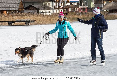 Two People Skating With Dog