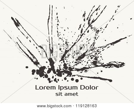 Splatter Black Ink Splash Background.
