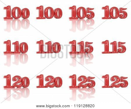 The Numbers In The Three-dimensional Image 100 To 125