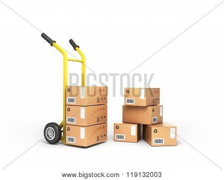 Boxes Are Close To The Handcart Isolated On White Background