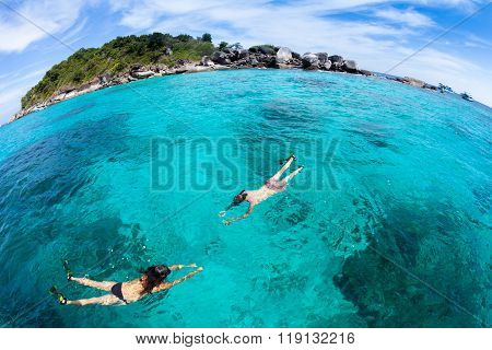 Skindiving In The Sea With Goggles And A Snorkel