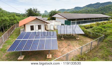 Solar Cell Panels In A Photovoltaic Power Plant, Schools In Countryside