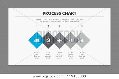 Editable template of horizontal five step process chart consisting of overlapping equilateral rhombuses with icons, gray background with frame poster