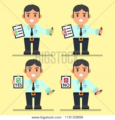 Cute Cartoon Office Workers with Checklist.